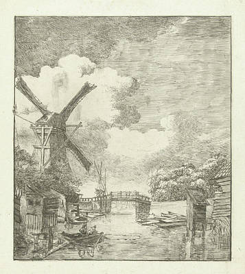 Water Mill Drawing - Landscape With Water Mill, Albertus Brondgeest by Artokoloro