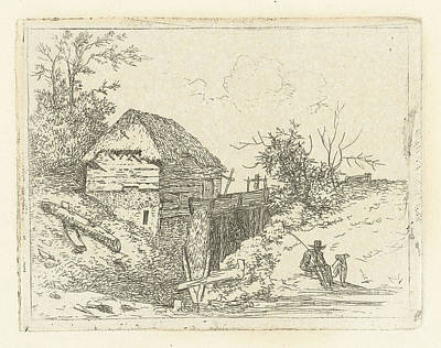 Water Mill Drawing - Landscape With Water Mill And Man With Dog by Artokoloro