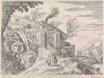 Water Mill Drawing - Landscape With Water Mill And The Good Samaritan by Artokoloro