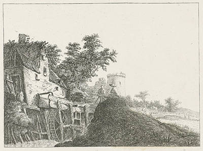 Water Mill Drawing - Landscape With Water Mill And Tower, Baron Reinierus by Artokoloro