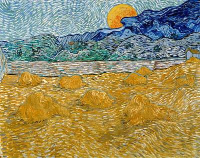 Netherlands Painting - Landscape With Wheat Sheaves And Rising Moon by Vincent van Gogh