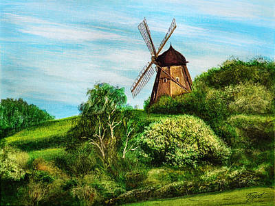 Landscape With Windmill Art Print by Gynt Art