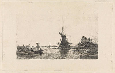 Rowboat Drawing - Landscape With Windmills And A Rowboat, The Netherlands by Elias Stark