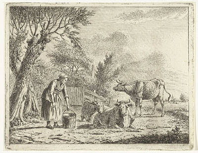 Landscape With Woman With Milk Bucket And Three Cows Art Print