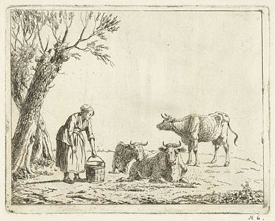 Landscape With Woman With Milk Bucket With Three Cows Art Print