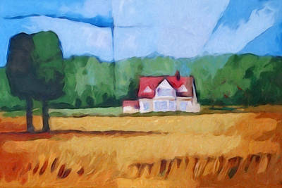 Expressive Landscape Painting - Landscape With Yellow Field by Lutz Baar