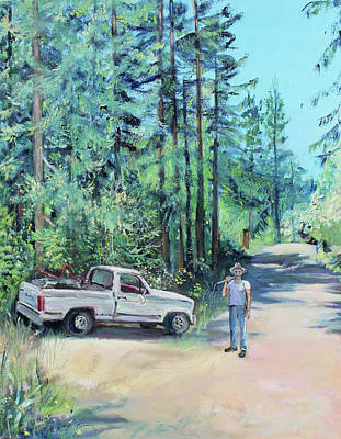 Landscaper Truck And Redwood Trees Original by Asha Carolyn Young
