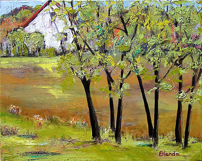 Landscapes Art - Hill House Art Print by Blenda Studio