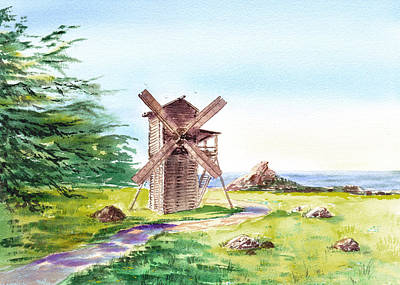 Country Side Painting - Landscapes Of California Fort Ross Windmill by Irina Sztukowski