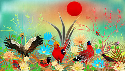 Digital Art - Landscapes With Birds And Red Sun - Limited Edition Of 15 by Gabriela Delgado