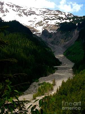 Photograph - Landslides At Mount Rainier by LeLa Becker