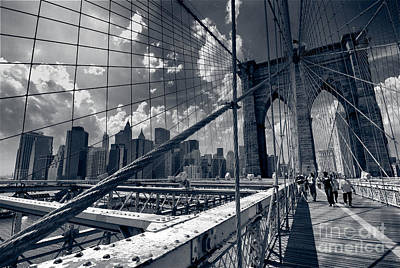 Lanes For Pedestrian And Bicycle Traffic On The Brooklyn Bridge Art Print by Amy Cicconi
