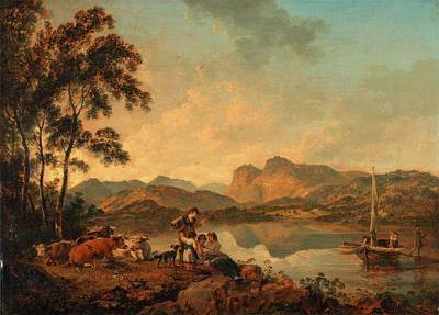 Cattle Dog Painting - Langdale Pikes From Lowood, Julius Caesar Ibbetson by Litz Collection