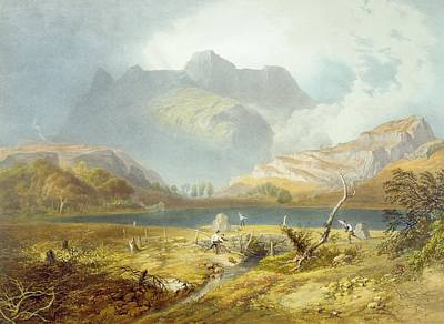 Lake Drawing - Langdale Pikes, From The English Lake by James Baker Pyne