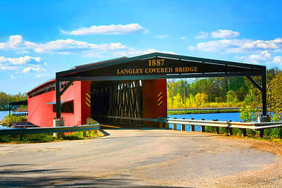 Langley Covered Bridge - Michigan Art Print by Pat Cook