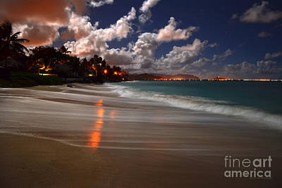 Lanikai Beach At Night View Of Kailua Bay  Art Print