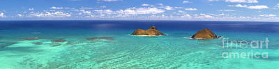 Lanikai Beach From Above Panorama Art Print