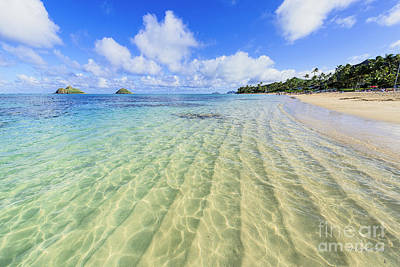 Lanikai Beach Mid Day Ripples In The Sand Art Print by Aloha Art