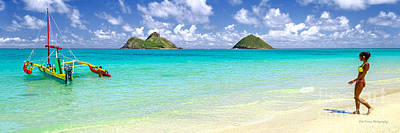 Lanikai Beach Paradise 3 To 1 Aspect Ratio Art Print