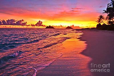 Lanikai Beach Winter Sunrise Rays Of Light Art Print