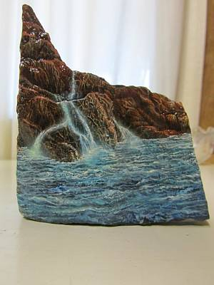 Painting - lanscape on Stone by Sam Del Russi