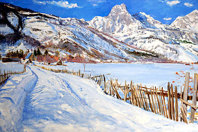 Painting - Valbona Snow - Margjeka Hotel by Sefedin Stafa
