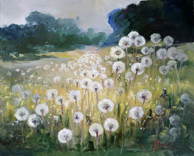 Dandelion Painting - Lanscape With Blow-balls by Irek Szelag