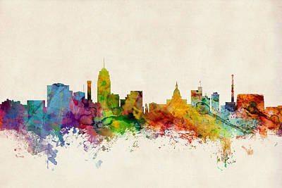 Silhouette Digital Art - Lansing Michigan Skyline by Michael Tompsett