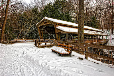 Mill Photograph - Lanterman's Covered Bridge In The Snow by Marcia Colelli