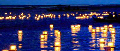Canoe Digital Art - Lantern Floating Festival by Seas Reflecting Starlight