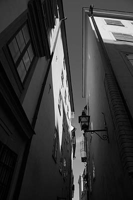 Lantern In A Narrow Alley - Monochrome Art Print by Ulrich Kunst And Bettina Scheidulin