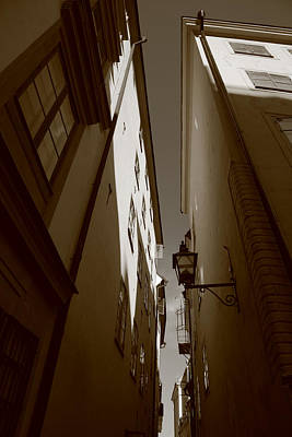 Lantern In A Narrow Alley - Sepia Art Print by Ulrich Kunst And Bettina Scheidulin