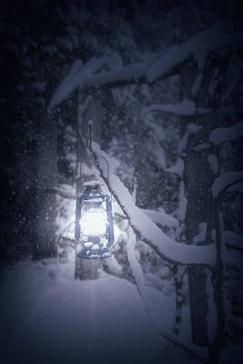 Snowy Night Photograph - Lantern In Snow by Joana Kruse