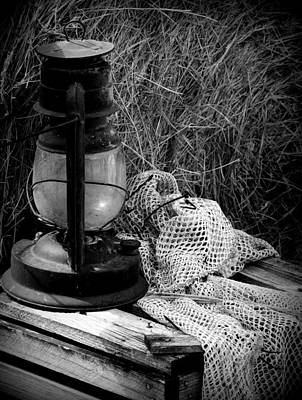 Photograph - Lantern On Crate Bw by Sheri McLeroy