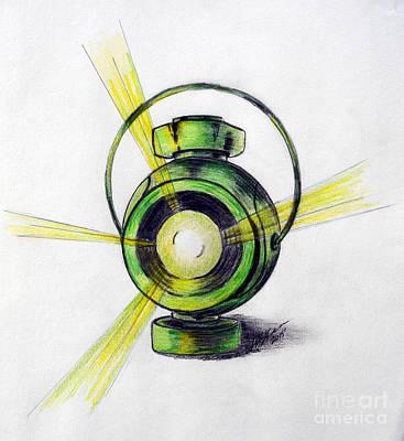 Green Lantern Drawing - Lantern by Sheryl Abid