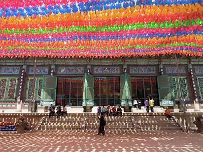 Temple Religion Photograph - Lanterns Hung For Festival In Courtyard by Panoramic Images