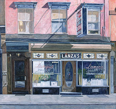 Storefront Painting - Lanza's Restaurant 11th Street East Village by Anthony Butera