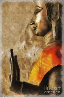 Digital Art - Lao Buddha #1 Of 2 Right by Nola Lee Kelsey
