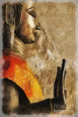 Digital Art - Lao Buddha #2 Of 2 Left by Nola Lee Kelsey