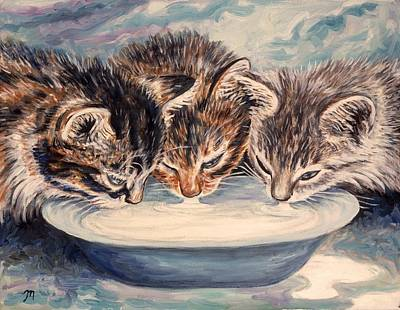 Sisters Painting - Lap Of Luxury Kittens by Linda Mears