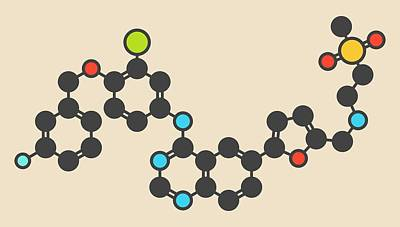Lapatinib Cancer Drug Molecule Art Print by Molekuul