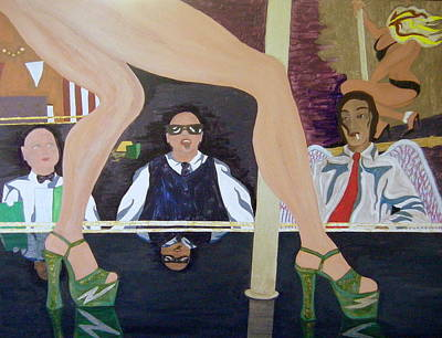 Platform Shoe Painting - Lapdancers Clients And An Angel by Lauran Childs