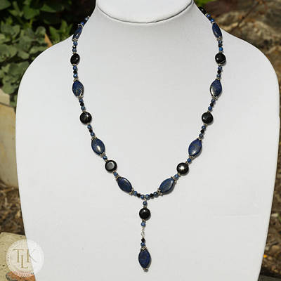 Sterling Silver Jewelry - Lapis Lazuli And Black Onyx Lariat Necklace 3675 by Teresa Mucha