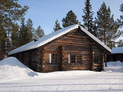 Photograph - Lapland Log Cabin With Snow On The Roof by IPics Photography