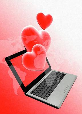 Laptop And Hearts Art Print