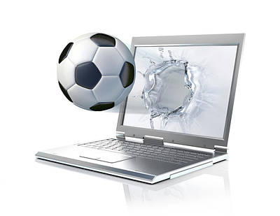 Emergence Photograph - Laptop With Football by Leonello Calvetti
