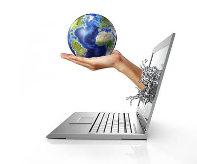 Emergence Photograph - Laptop With Hand Holding Globe by Leonello Calvetti