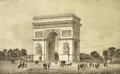 Triumph Drawing - Larc De Triomphe, Paris, Engraved by Jean Jacottet