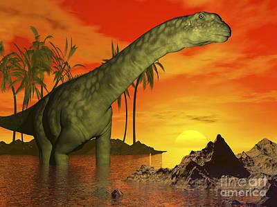 Rocky Digital Art - Large Argentinosaurus Dinosaur In Water by Elena Duvernay