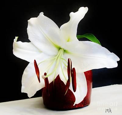 Wrap Digital Art - Large Asian Bloom In White by Marsha Heiken